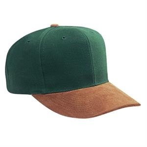 Two Tone Six Panel Wool/acrylic Pro Style Cap With Suede Visor. Blank