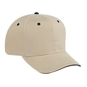 Structured Six Panel Sandwich Visor Pro Style Cap With Firm Front Panel. Blank