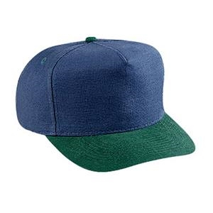 Washed Brushed Heavy Cotton Canvas Two Tone Golf Style Cap. Blank