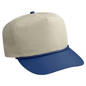Two Tone Deluxe Poplin Golf Style Cap With Leather Strap. Blank