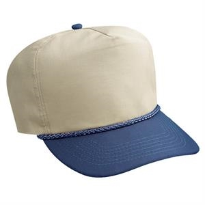 Two Tone Poplin Golf Style Cap With Sliding Zipper. Blank