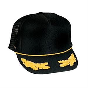 Golf Style Polyester Foam Front Mesh Back Cap With Oak Leaves Emblems. Blank