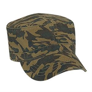 Superior Garment Washed Cotton Twill Military Style Camouflage Cap. Blank