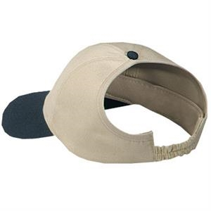 Unstructured Brushed Cotton Twill Ponytail Pro Style Cap With Elastic Strap. Blank