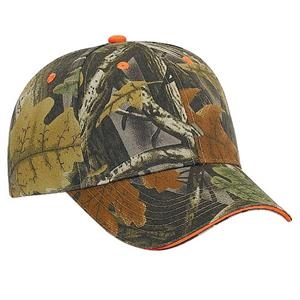 Camouflage Brushed Cotton Twill Sandwich Visor Low Profile Pro Style Cap. Blank