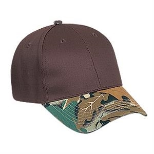 Two Tone Six Panel Low Profile Pro Style Cap With Camouflage Visor. Blank