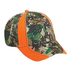 Two Tone Six Panel Pro Style Cotton Twill Camouflage Cap With Piping Design. Blank