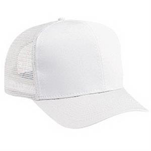 Youth Structured Pro Style Cotton Twill Cap With Nylon Mesh Back. Blank