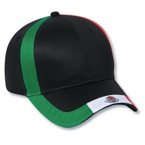 Two Tone Six Panel Low Profile Pro Style Cap With Mexico Flag Design. Blank