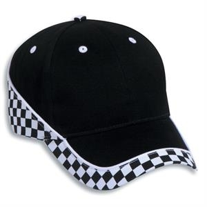 Two Tone Brushed Cotton Twill Six Panel Pro Style Cap With Racing Pattern. Blank