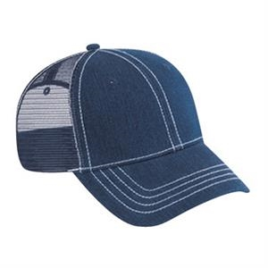 Washed Denim Pro Style Mesh Back Cap With Metal Buckle. Blank
