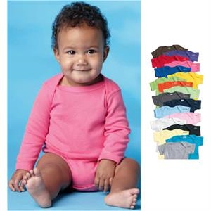 Rabbit Skins - Colors - Infant Long Sleeve Lap Shoulder Creeper.100% Combed Ringspun Cotton. Blank