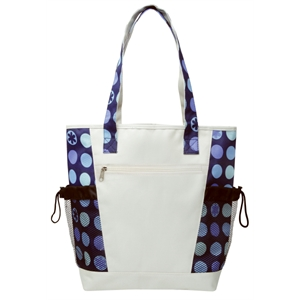 Embroidery - Designer Pattern Tote Has Zipper Front Pocket And Mesh Pocket On Each Side