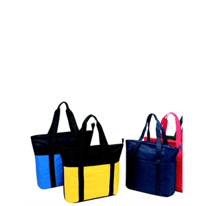 "Silkscreen - Large Zippered Tote Bag With End-to-end Front Pocket And 24"" Carrying Handles"