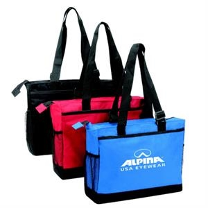 "Embroidery - Large Zippered Tote Bag With 26"" Adjustable Shoulder Straps"