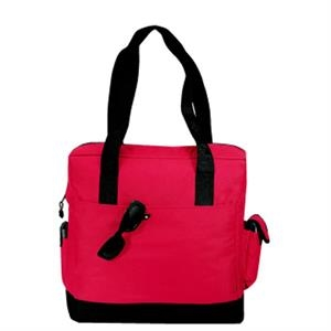 Embroidery - Two-tone Tote Bag With Exterior Cell Phone Pocket And Penholders