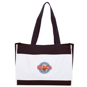 "Embroidery - Classic Two-tone Polyester Tote Bag With Top Velcro (r) Closure And 24"" Handles"