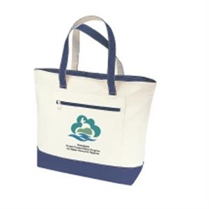 "Embroidery - Canvas Zippered Tote Bag With 21"" Carrying Handles And Zippered Front Pocket"