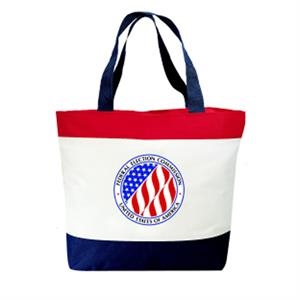 Embroidery - Patriot Tote Bag Made Of 600-denier Polyester With Vinyl Backing