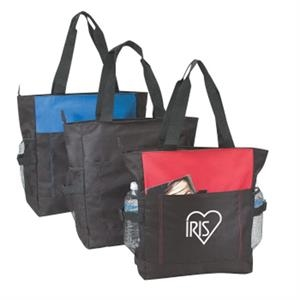 "Silkscreen - Polyester Zipper Tote Bag With Side Mesh Pockets And 24"" Handles"