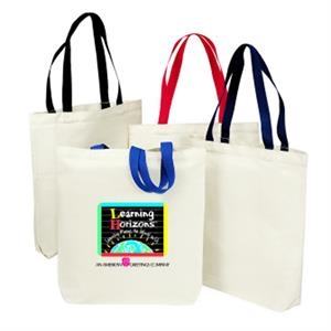 "Silkscreen - Two-tone Economy Canvas Tote Bag With 29"" Webbed Handles"