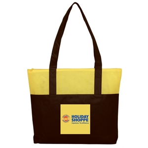 "Embroidery - Non-woven Two-tone Tote Bag With Top Zipper And 25"" Self-fabric Handles"