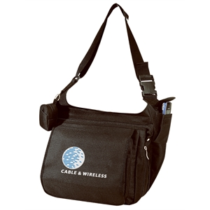 Embroidery - Expandable Messenger Brief Bag With Cell Phone Pocket And Coin Pouch