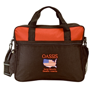 Embroidery - Two Tone Polyester Portfolio Bag With Zippered Front Pocket And Id Window