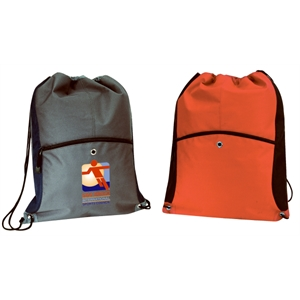 Embroidery - Large Drawstring Backpack Made Of 600-denier Polyester With Vinyl Backing