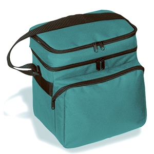 "Embroidery - Ten-can Leak-proof Cooler Bag With 1 1/2"" High Sandwich Compartment And Handle"