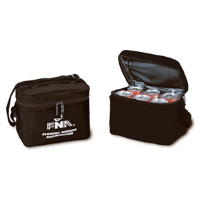 Silkscreen - Six-can Leak-proof Nylon Cooler With Mesh Pocket, Carrying Handle And Strap