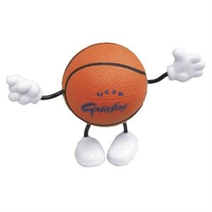 "Basketball Figure Shape Stress Reliever With Stock Face, 2 1/2"" Diameter"