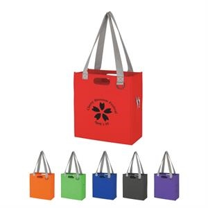 "Expedia - Non Woven Tote Bag With Die Cut And 30"" Gray Carrying Handles"