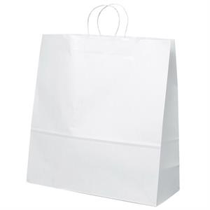 Duke Shopper - White Kraft Paper Shopping Bag With Matching Twisted Paper Handles