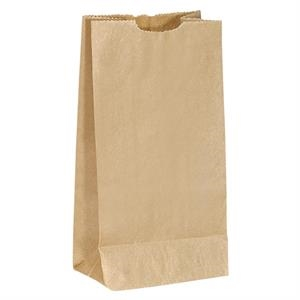 Unlined Brown Paper Popcorn Bag With Serrated Cut Top, Side And Bottom Gussets