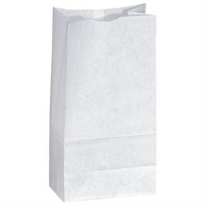 White Popcorn Paper Bag, Unlined With Serrated Cut Top, Side & Bottom Gussets