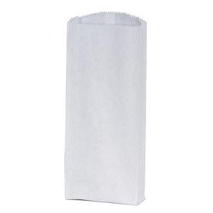 Unlined White Paper Pharmacy Bag With Serrated Cut And Top And Bottom Gussets