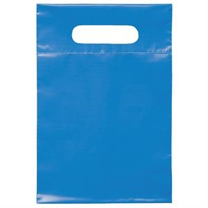 "7"" X 10.5"" - Plastic Bags With Reinforced Die Cut Handles; Recyclable, Reusable"