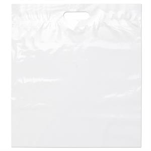 "18"" X 20"" X 4"" - White Die Cut Plastic Handle Bag With Fold-over Reinforced Die Cut Handles"