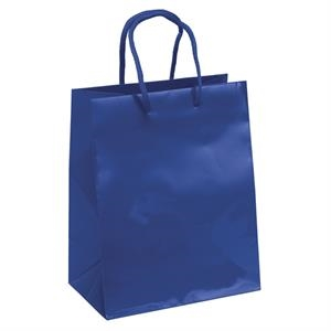 "Eurotote Crystal - 7 3/4"" X 4 3/4"" X 9 3/4"" - Gloss Laminated Shopping Tote With Matching Macrame' Handles And Bottom Insert"