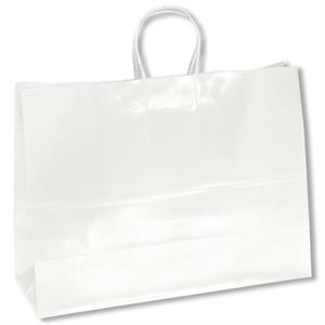 Aubrie Shopper - White Bag - Gloss Paper Shopping Bag With Twisted Kraft Paper Handles And Serrated Cut Top