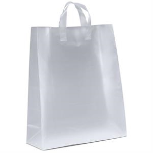 Jupiter Frosted Shoppers - Frosted Plastic Bag With Fused Loop Handles And Cardboard Bottom Insert