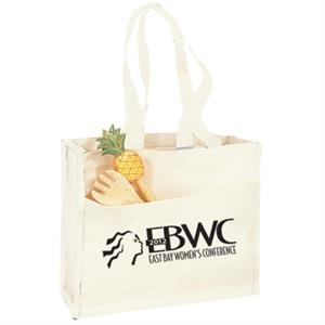 Cotton Canvas Gusset Tote With Color Handles