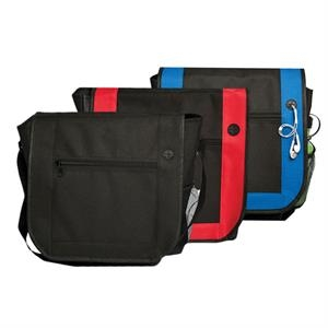 Messenger Bag With Headphone Port On Front Flap