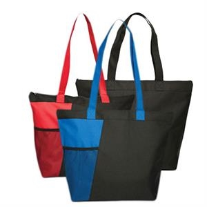 Tote With Zippered Compartment And Front Mesh Pocket