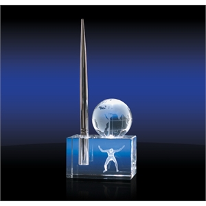 Globe on Block & Pen Holder - Crystal