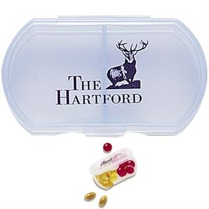 Double Dose Pill Box With Dual Compartments
