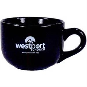 Coffeehouse Latte I - Black - 16 Oz Ceramic Mug