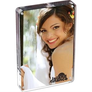 "Prato - 4"" X 6"" Two Sided Magnetic Acrylic Frame. Stands Vertically Or Horizontally"