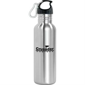 "Oakley - 25 Oz Stainless Steel Sports Bottle. 1 3/4"" Wide Mouth. Includes Carabiner Clip"